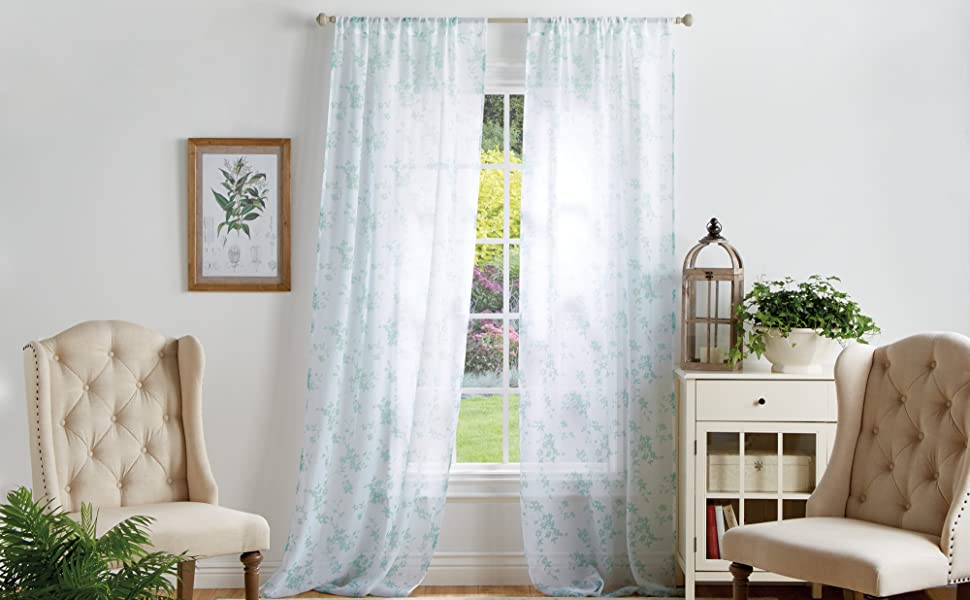 modern airy practical beautiful flower sheer 84 95 length long accent interior light ready made soft