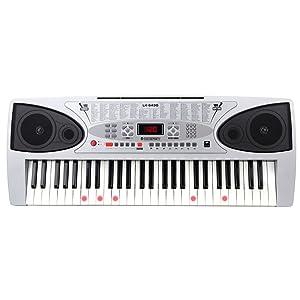 McGrey LK-5430 teclado de 54 teclas con teclas luminosas, micrófono y soporte para notas