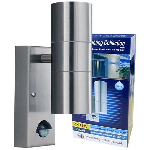 Outdoor-Zenon Lighting  sc 1 st  Amazon UK & PIR Stainless Steel Double Outdoor Wall Light With Movement Sensor ... azcodes.com