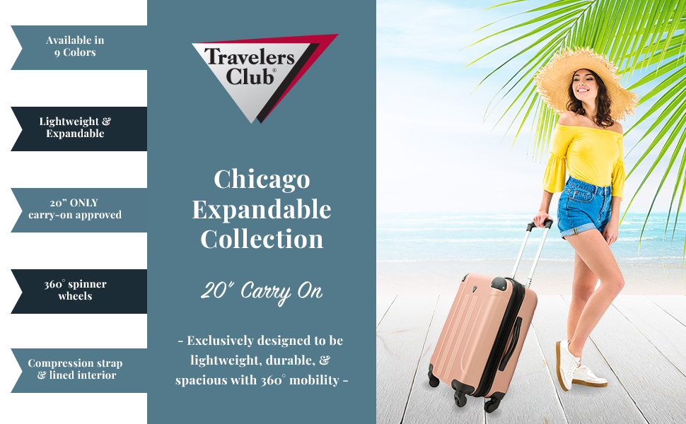 travelers club, carry-on, luggage, lightweight, 360 spinners, mobility, fashion, expandable, easy