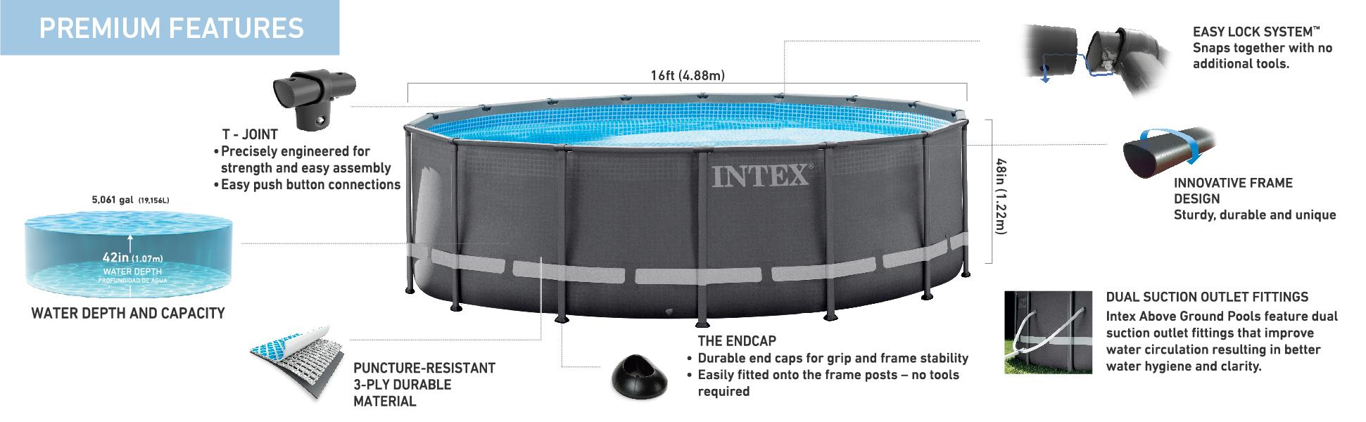 Intex Above Ground Pool For View Larger Amazoncom Intex 16ft 48in Ultra Frame Pool Set With Sand Filter