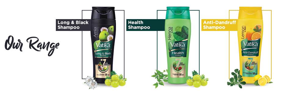 Range of vatika shampoo;herbal shampoo;ayurvedic shampooo;goodness of amla and almond