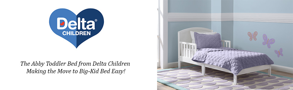 Bianca with Serta Perfect Start Crib and Toddler Mattress Delta Children Abby Toddler Bed