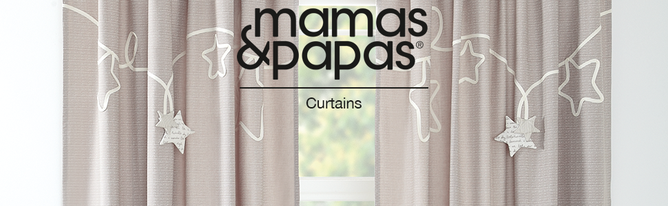 Mamas /& Papas Curtains Tie Top Nursery D/écor Ava Rose Floral 132 x 160 cm