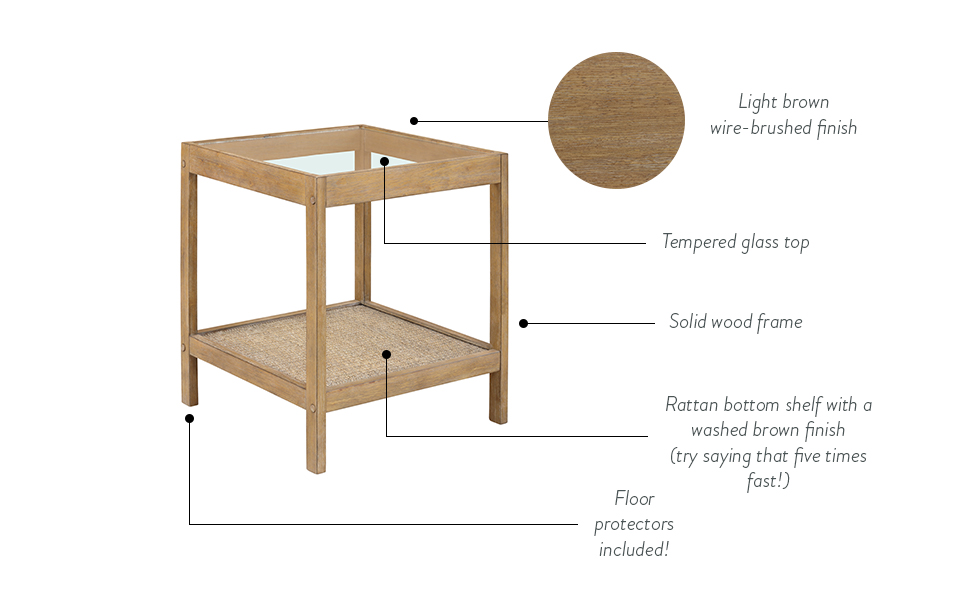 side table, accent table, wood bedside table, nightstand, glass end table