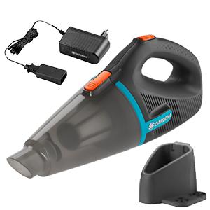 GARDENA EasyClean 9340-20- Set de aspirador de mano para exterior incluye soporte para pared, aspirador con batería para partículas húmedas y secas: Amazon.es: Hogar