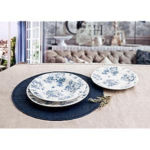 Churchill Toile Blue - Vajilla de 18 piezas de loza inglesa