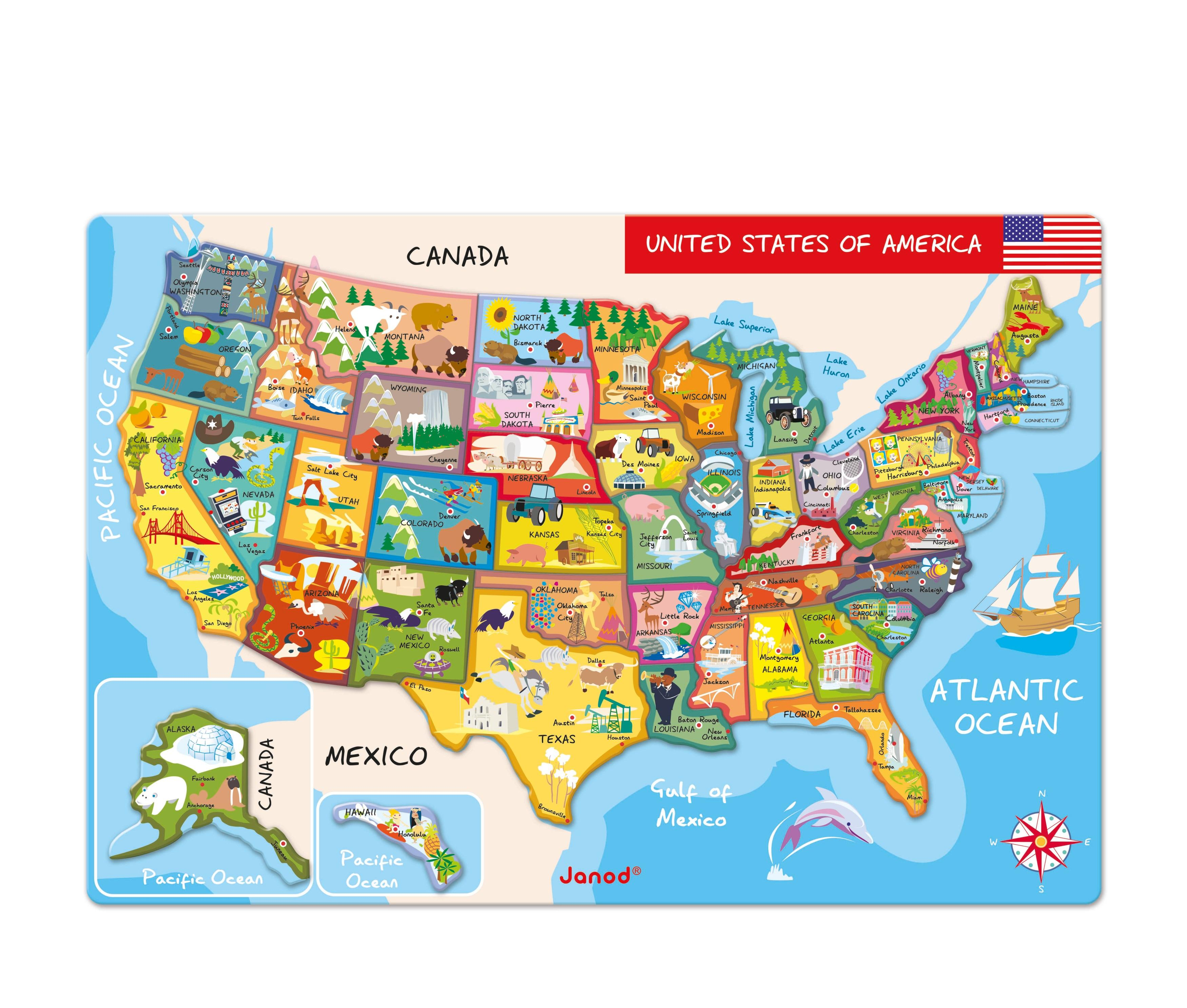 Amazoncom Janod Magnetic USA Map Inches X Inches - A usa map