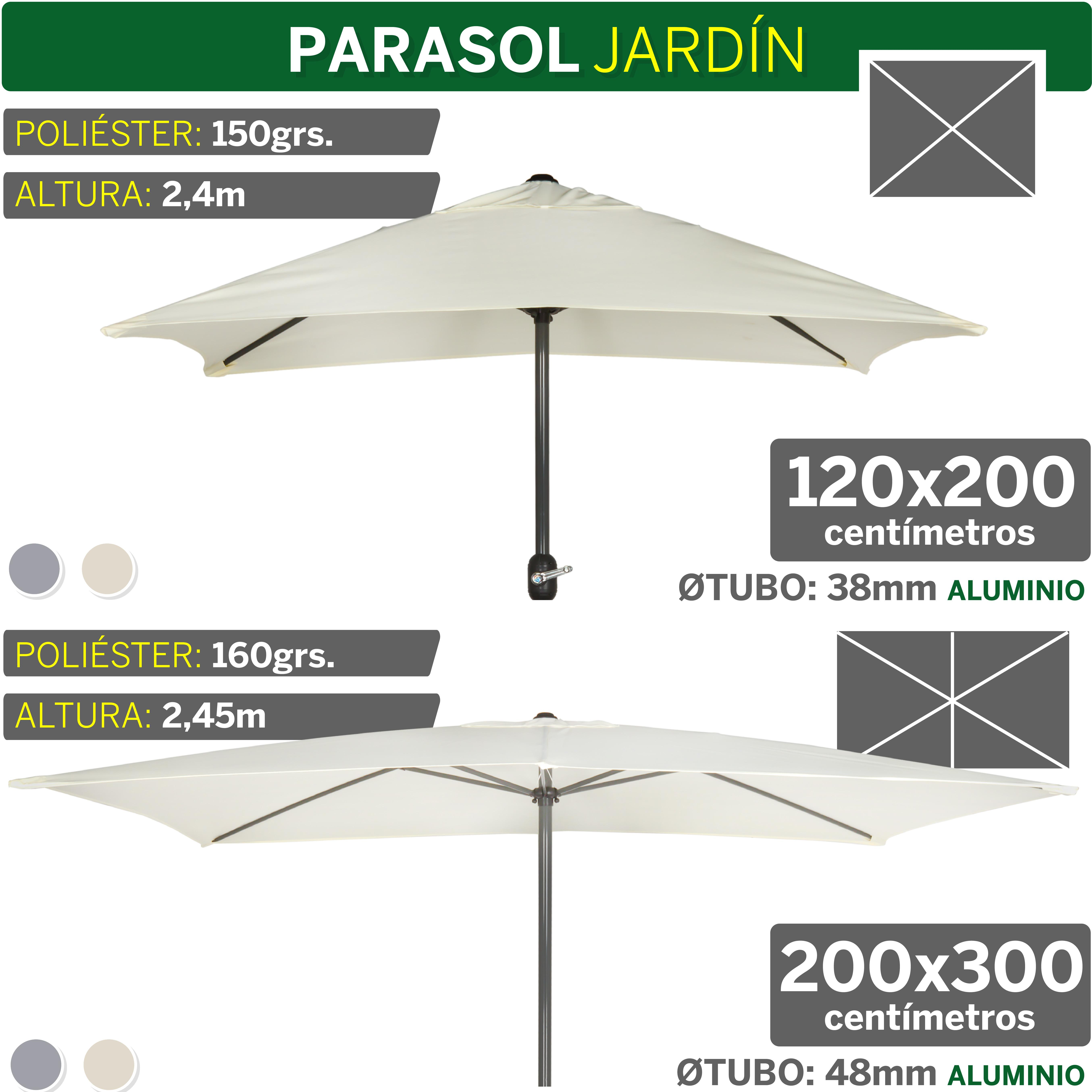 Aktive Garden 53879 - Parasol Rectangular, 120 x 200 cm