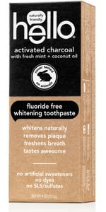 Charcoal toothpaste, natural, hello, whitening