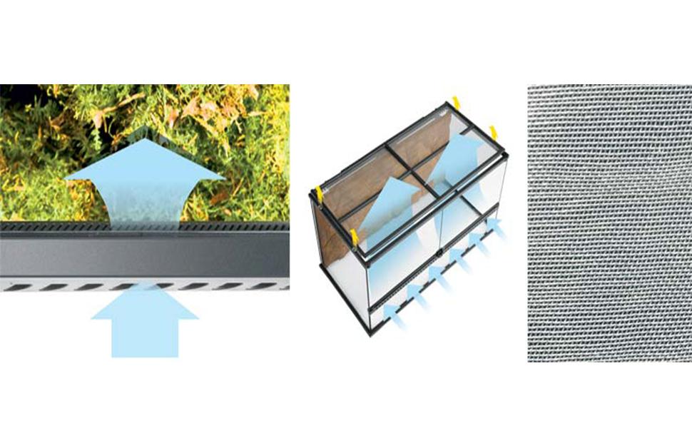 ventilación de terrarios; terrarios exoterra; terratios de vidrio; reptiles