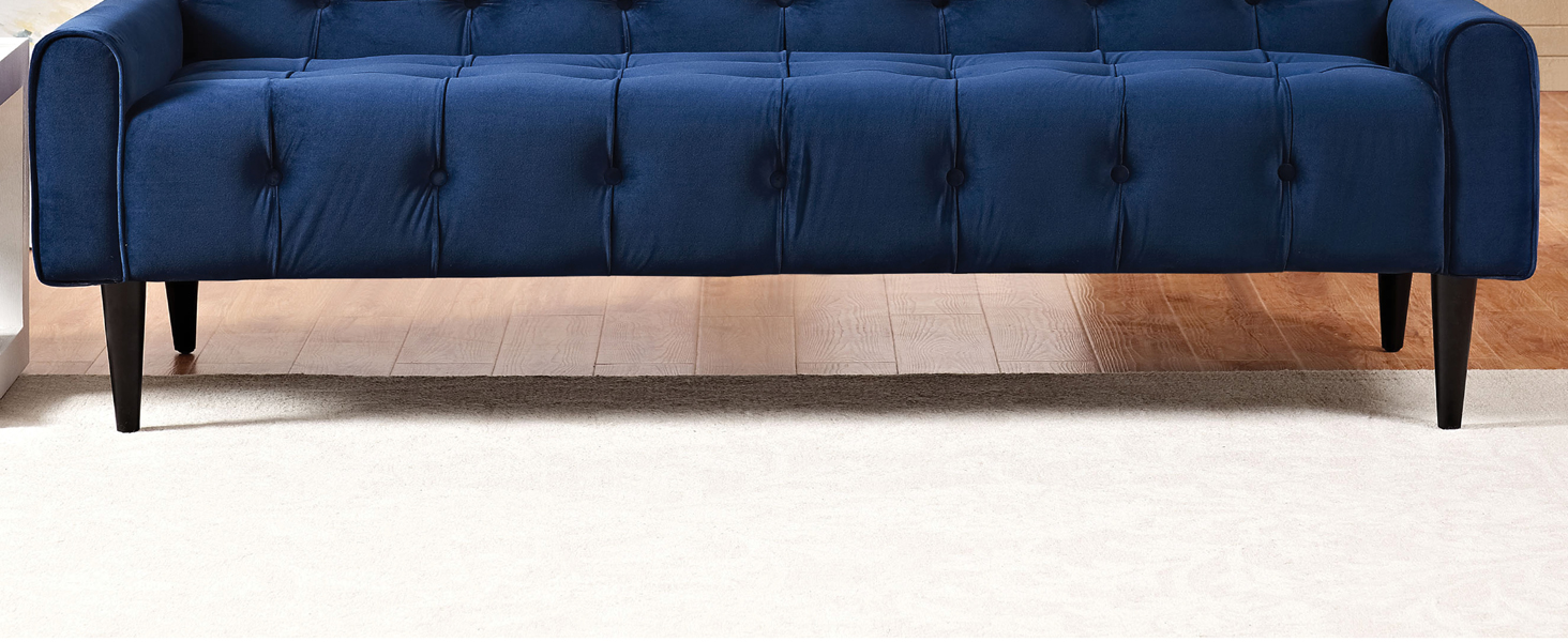 tufted buttons,upholstery,exceptional appeal,curved armrests,chic shape,solid wood legs