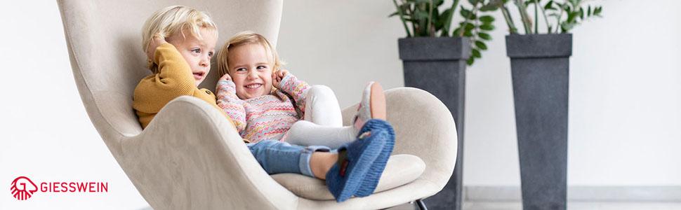 Serfaus - Zapatillas de estar por casa para niños, de algodón, con cierre de velcro