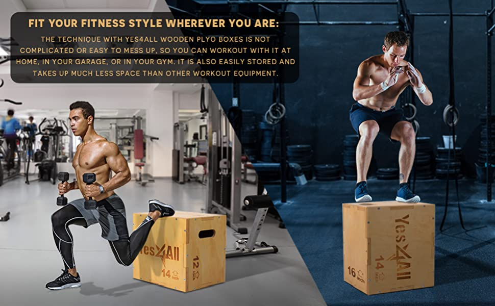 Yes4All Wood Plyo Box//Wooden Step Box for Exercise Green Non-Slip MMA 24x20x16 inch Crossfit G 24//20//16 Plyometric Training 3-in-1 Plyometric Jump Box//Box Exercise Equipment