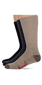 Wrangler Men's Cotton Cushion Work Boot Crew Socks 3 Pair Pack, Assorted