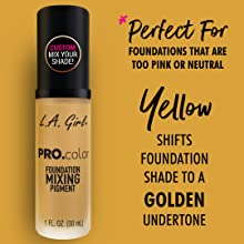 foundation mixer yellow pigment la girl cosmetics foundation new