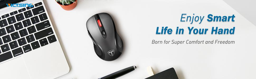 VicTsing 2 4G Wireless Mouse Wireless Optical Laptop Mouse with USB Nano  Receiver, 6 Buttons,5 Adjustable DPI Levels,15 Months Battery Life, Ideal  for