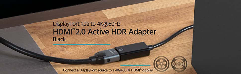 Black Monoprice 133125  DisplayPort 1.2a to 4K @ 60Hz HDMI Active HDR Adapter