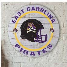 East Carolina Pirates Helmet Weathered Circle Sign