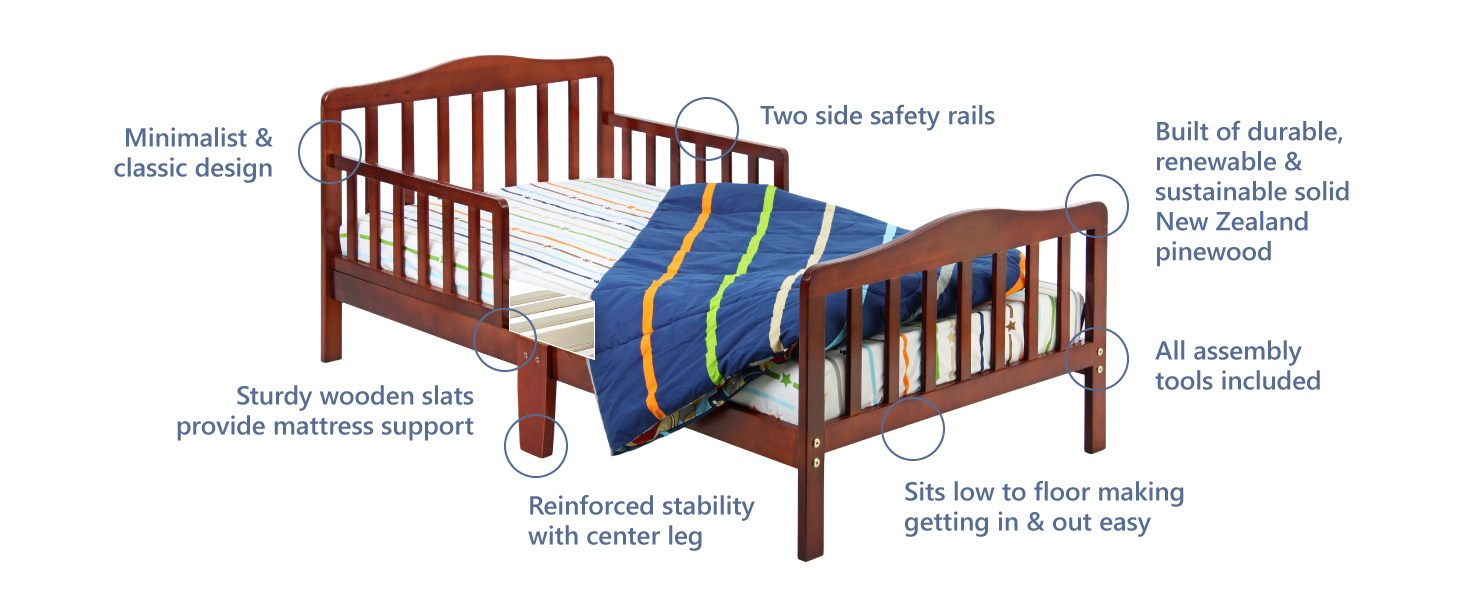 toddler bed for baby,dream on me toddler bed,solid wood toddler bed,two side safety rail toddler bed