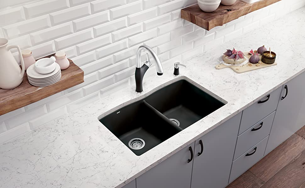Blanco Anthracite 440184 Diamond Silgranit 50 50 Double Bowl Undermount Kitchen Sink Blanco Undermount Sink Amazon Com