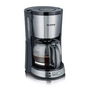 SEVERIN KA 4192 - Cafetera Select con temporizador para filtros de café molido, hasta 10 tazas, con jarra de cristal, acero inoxidable/negro