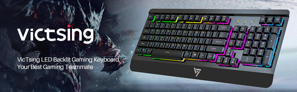 VicTsing Gaming Keyboard USB Wired Keyboard, Quiet All-Metal Panel  Spill-Resistant Keyboard with Ergonomic Wrist Rest, Ultra-Slim Rainbow LED  Backlit