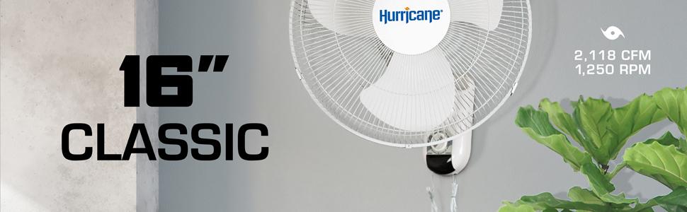 16 inch Classic Oscillating Wall Mount Fan