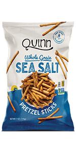sea salt stick gluten free snack pretzels quinn