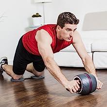 Unisex Adulto Talla /única Equipo de Fitness para Gimnasio en casa Rueda de Ejercicio AB Roller Harbinger Carver Pro con Rodilleras Negro