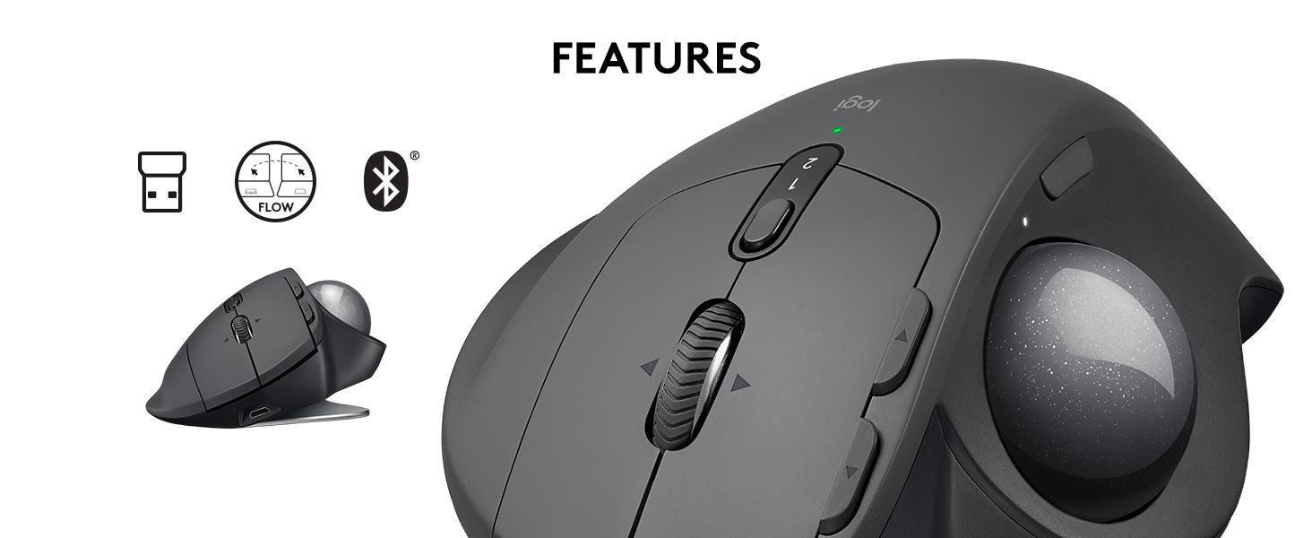 afde72a12a2 Amazon.com: Logitech MX Ergo Wireless Trackball Mouse – Adjustable ...