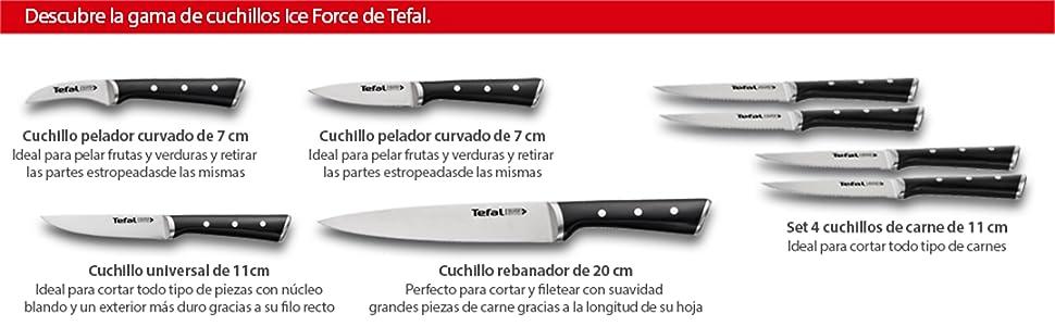 Tefal Ingenio Ice Cuchillo Chef, Acero Cepillado, Negro, 20 cm