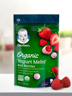Gerber Organic Yogurt Melts are made with organic yogurt & fruit.