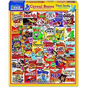 Puzzle of serious cereal boxes