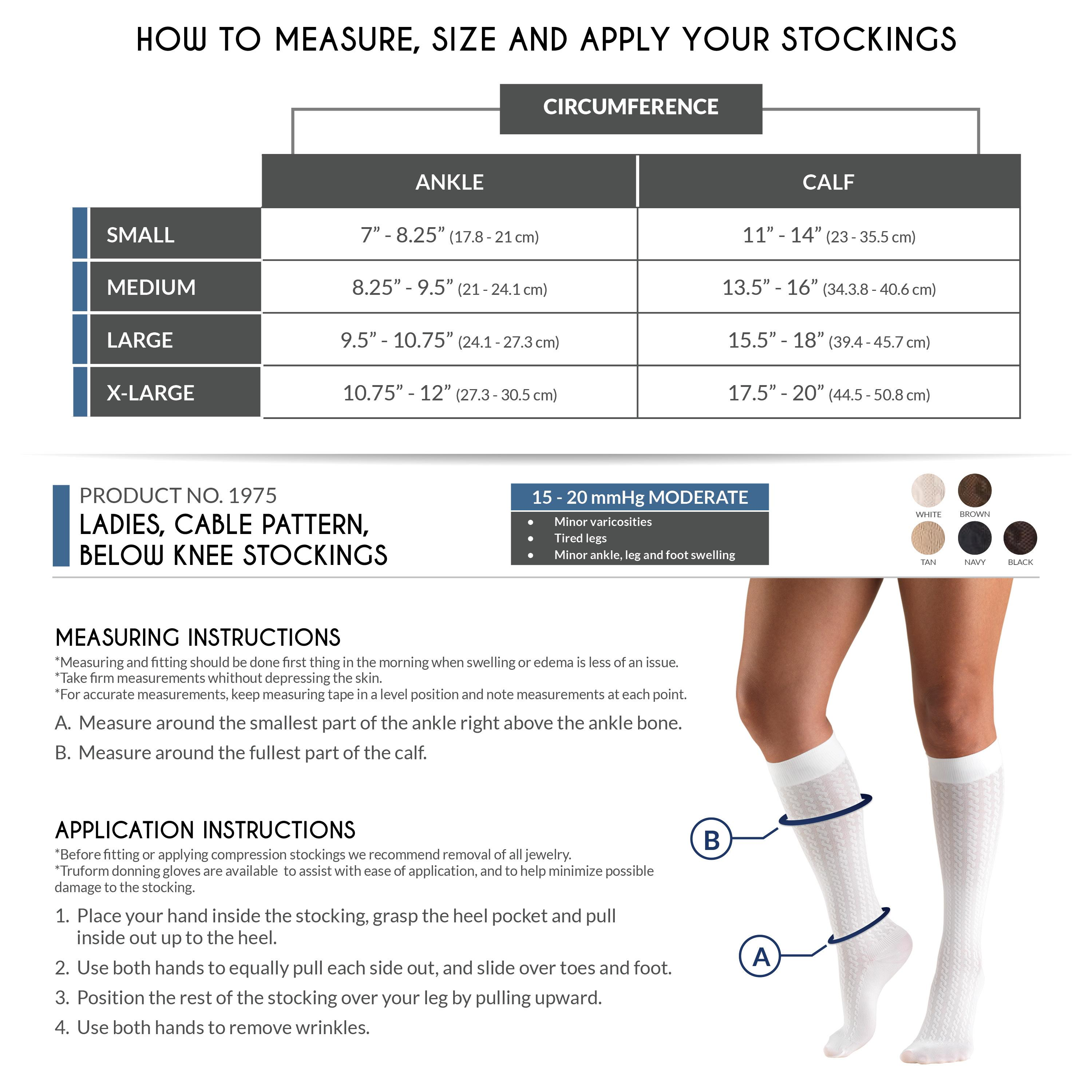 Tuform Ladies Compression Socks Size Chart