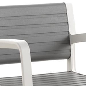 Textura similar a la madera veteada. Muebles de jardín y terraza de plástico