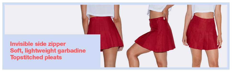 size zipper, garbadine, pleats, american apparel