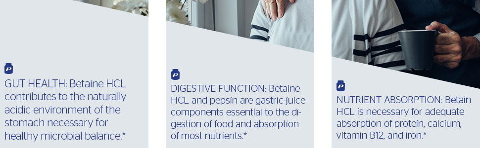 Pure Encapsulations - Betaine HCl/Pepsin - Hypoallergenic Dietary Supplement to Support a Healthy