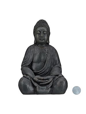 Relaxdays Estatua Buda Sentado XL para Jardín, Cerámica, Gris Oscuro, 50 cm: Amazon.es: Jardín