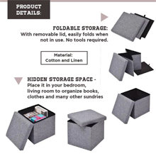 Foldable Fabric Storage Stool/Ottomans - 38cm : Foldable for easy Hidden Storage