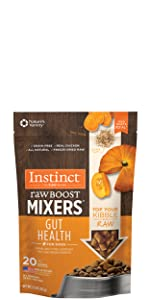 instinct raw boost mixers, dog food topper, freeze dried dog food, dog gut health