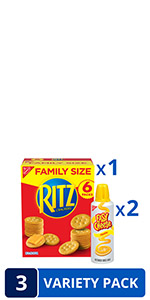 RITZ Original Crackers and Easy Cheese Cheddar Snack Variety Pack, 1 Family Size Box amp; 2 Cans