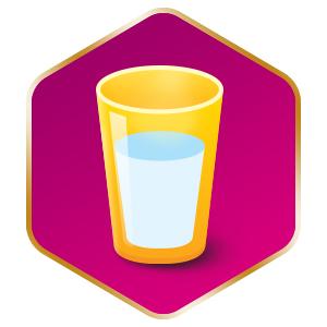 Em um copo de água (180ml) potável ou previamente fervida.