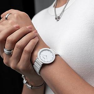 Bering Damen-uhr Armband-uhr Saphirglas Watch Slim Unisex Behring Skagen Keramic Ceramic Design Uhr