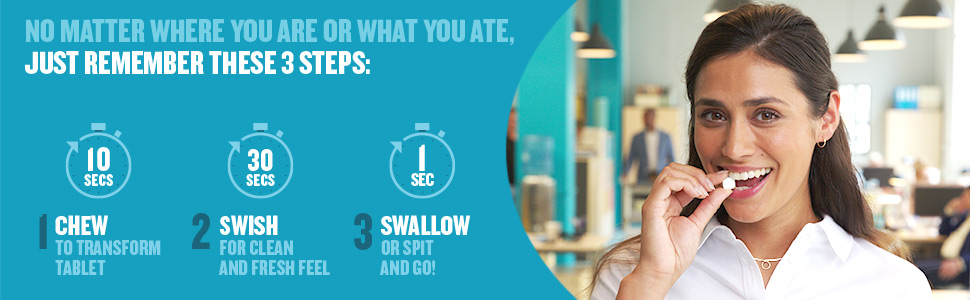 Remember these 3 steps: Chew, Swish, Swallow