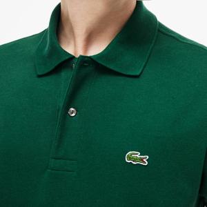 Polo Lacoste con coccodrillo verde ricamato