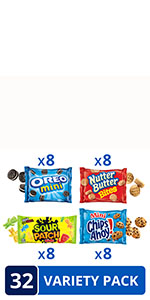 OREO Mini Cookies, CHIPS AHOY! Mini Cookies, SOUR PATCH KIDS & Nutter Butter Bites Variety Pack
