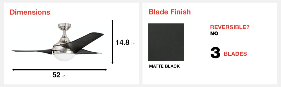 fan dimensions, blade finish, matte black, 3 blades, reversible, yes, 52 in, 14.8