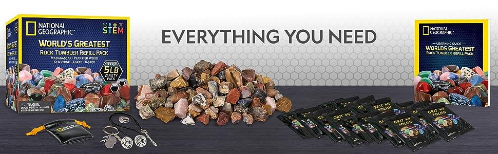 rock, tumbler, refill, polishing, grit, rocks, gemstones, agate, jasper, petrified, wood, kit