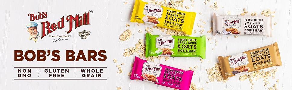 Bob's Red Mill bars nutrition snack meal whole grain gluten free non gmo nongmo certified project